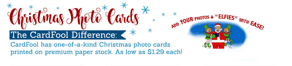 Christmas Photo Cards - Unique, one-of-a-kind Christmas cards printed on premium paper stock.