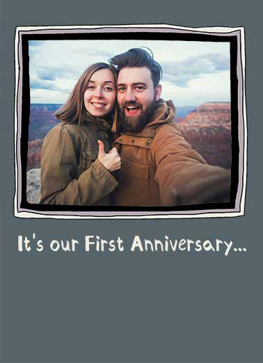 1st Anniversary Funny Add Your Photo Card For Husband  We hit it but didn't quit it.