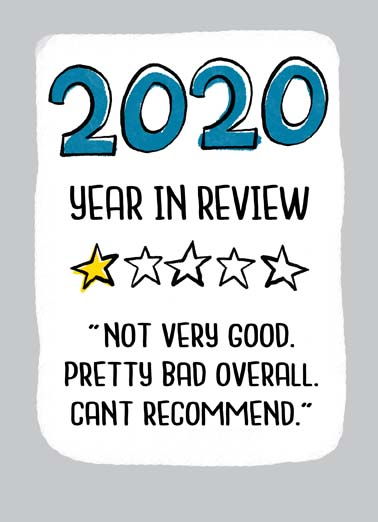2020 Review Funny New Year's Card   Here's to a great 2021!