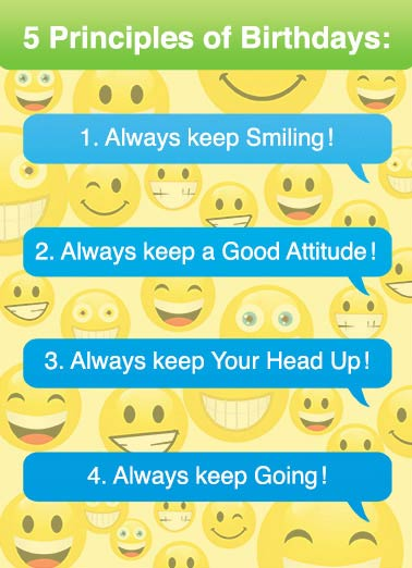 5 Principles Funny Lee Card  Emoji, Emoticon, Happy, Face, Smile, Computer, Tech, Selfie  5. Never Keep Count!  Happy Birthday