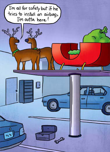 Airbag Funny Christmas  Cartoons Two reindeer in a car shop complaining while being worked on. | cartoon illustration reindeer shop airbag antlers  Wishing you safe and happy holidays!