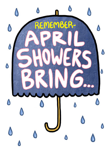 April Showers Bring Funny April Birthday Card  Send someone a personalized greeting card just in time for their birthday! | April showers birthday happiest wishes rain umbrella enjoy your day The sunniest birthday wishes!