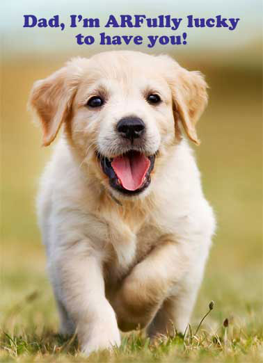 Arfully Lucky Funny Fathers Day Dogs Dog Puppy Golden Retriever Cute