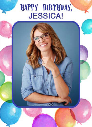 Awesome Day Funny Birthday Card Add Your Photo An add your photo birthday card with watercolor balloons on the border/frame. | happy birthday watercolor awesome day wonderful year add photo  Wishing you an Awesome Day and a Wonderful Year!