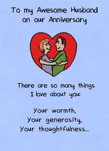Awesome Husband Anniversary Funny Soul Mates Card  To My Awesome Husband | Anniversary, Husband, Butt, Cute, From Wife, Love, Loving, Happy, sweet, poem, awesome  ...Your Butt.
