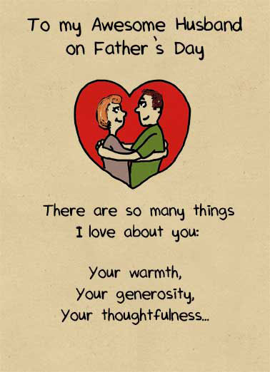 Funny For Husband Card  Husband Father's Day Card | funny, from wife, to husband, love, together, heart, dad, warmth, generosity, thoughtfulness, awesome, hugging, thoughts, poem, prose, heartfelt, message,  ...Your Butt.