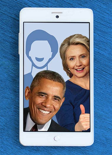 Barack and Hillary Selfie Funny For Any Time Card Hillary Clinton Add your own photo to this Hillary and Obama Selfie card! | Obama, LOL, Selfie, Political, photo, smartphone, funny, cute, hilarious, democrat, republican, Birthday, anti-obama, JFL, ROTFL, hillary, clinton, President, Barry, Presidents Hope your day is Picture-Perfect!