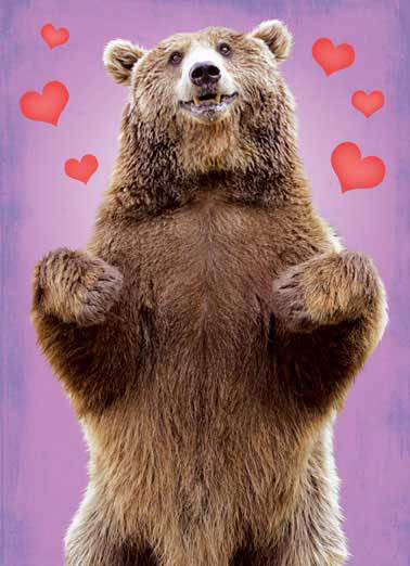 Funny Valentine's Day Card Love Big Brown Bear making a hug motion with arms on Valentine's Day greeting card | grizzly, black, cub, bears, polar, panda, animal, cute, fuzzy, furry, love, like, husband, wife, spouse, boyfriend, girlfriend, Valentine, here's a Big Bear Hug just for you!