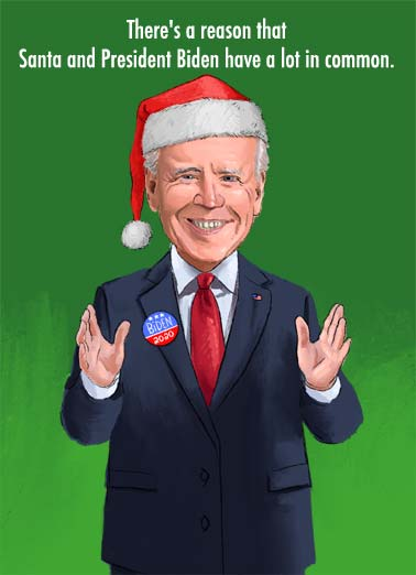 Biden Same Age Funny Christmas  Funny Political An illustration of Joe Biden wearing a Santa cap. | president elect vote Joe Biden Santa Christmas presents same age common election merry happy They're about the same age.