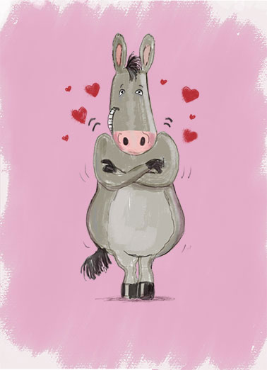 Funny Valentine's Day Card Love A Big Ass Hug for Valentine's Day | donkey cute sweet critter love fun naughty sexy dirty loving kiss hugging mule pink hearts drawn cartoon butt asses snuggle warm, Sending you a Big Ass Valentine's Hug!