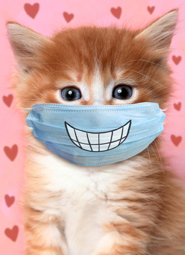 Big Smile Cat VAL Funny Quarantine Card Valentine's Day Send someone special a personalized greeting card just in time for Valentine's Day! | be mine Valentine put a smile on your face mask hearts love sweet kiss hugs  Hope this Valentine's Day puts a smile on your face!