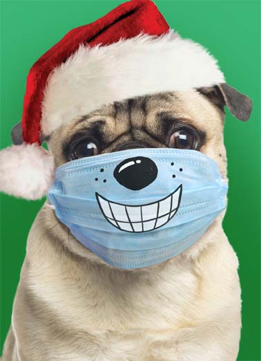 Big Smiles XMAS Funny Christmas Card Funny A cute pug wearing a Santa hat and a mask with a smile drawn on it. | smile merry Christmas dog pug Santa mask pandemic corona virus coronavirus social distance distancing face big  Hope Christmas finds you with a big smile on your face.
