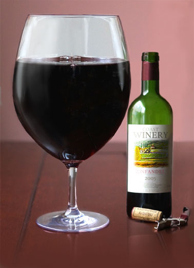 Big Wine Glass Funny Mother's Day   A picture of a hug glass of wine next to a wine bottle. | wine glass bottle cork mom mother mother's day zinfandel coast  As a mom, you're entitled to one glass of wine on Mother's Day! Enjoy.