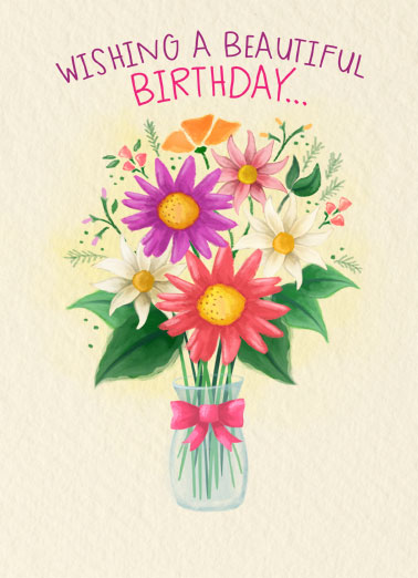 Birthday Beautiful Bouquet Funny Flowers Card  Send someone a personalized greeting card just in time for their birthday! |Beautiful bouquet flowers watercolor nice sweet lovely best friend friendship enjoy happiness celebrate  To a simply wonderful you!
