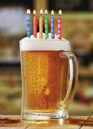 Birthday Beer Funny Birthday Card Drinking Beer with Birthday candles on a Greeting Card | May all your Birthday wishes come true!