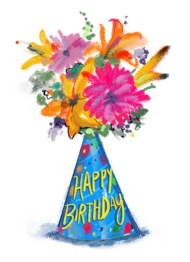 Birthday Hat Bouquet Funny Flowers Card  Wish a Happy Birthday with a sweet Birthday floral.  Wishing you a wonderful day.