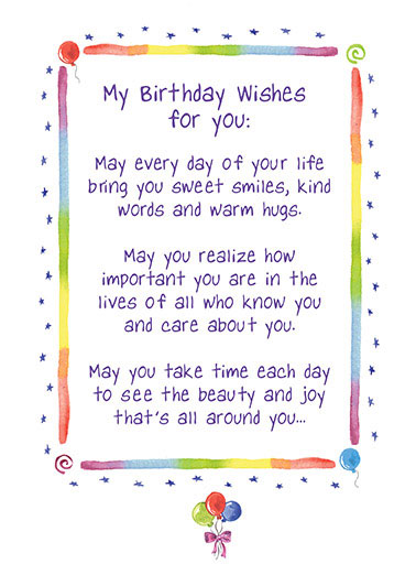 Birthday Wishes Funny For Kid Card  Watercolor, Poem, Birthday, Balloons  And may you always know the love of friends and family who mean the most to you.  Happy Birthday