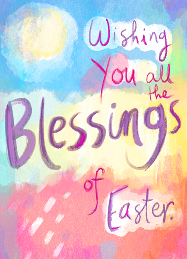 Blessings of Easter Funny Easter Card  Wish someone all the joys and blessings of Easter with this whimsical painted Easter card and Ecard. Happy Easter