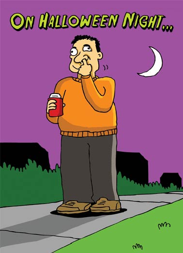 Boogie Man Funny Halloween Card Cartoons Pick or Treat | nose, booger, boogie, cute, funny, cartoon, guy, boogy, snot, pick, night, trick, treat, wacky  Watch out for the BOOGIE MAN! Happy Halloween