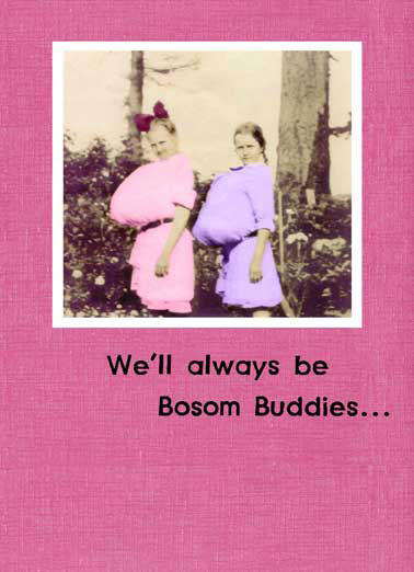 Funny For Friend Card  ,  No matter where our bosoms end up!  Happy Birthday