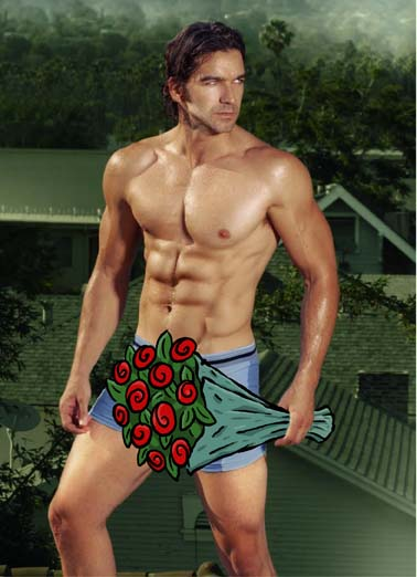 Birthday Bouquet Hunk Funny Hunks 'n Babes   A shirtless guy holding bouquet of flowers on this hunky birthday card, say happy birthday with this greeting card featuring a hot shirtless hunk, the perfect birthday card to say I'm thinking of you, hot, shirtless, man, dude, guy, hunk,  Thought I'd send you a bouquet of your Birthday!
