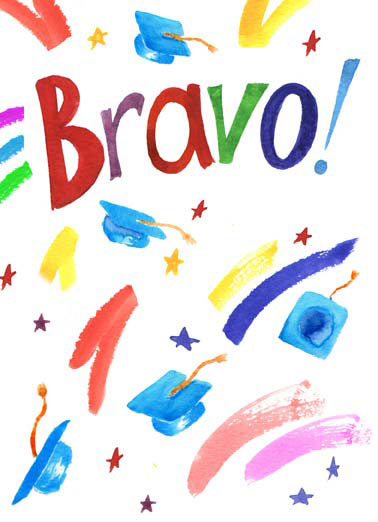 Bravo Funny Illustration Card  Graduation cap diploma bravo illustration watercolor card congratulations congrats color  Grad, I'm so happy for you!