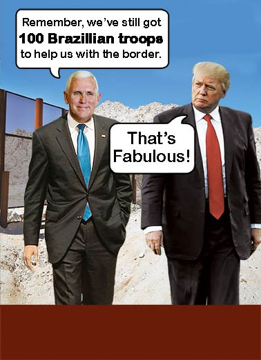 Brazilian Trump Funny President Donald Trump Card  A Brazillion Birthday Wishes from the President | Border, wall, troops, immigration, joke, funny, political, president, donald, trump, vice president, mike, pence, brazil, misunderstand, humor  How many is a Brazillion?