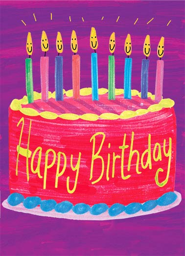Funny Simply Cute Card  Bright and Happy Wishes on your Birthday! | Cake, colorful, birthday, cheer, smiles, candles, happy birthday, cute, painted, kids, Bright & Happy Wishes for a Wonderful Birthday!