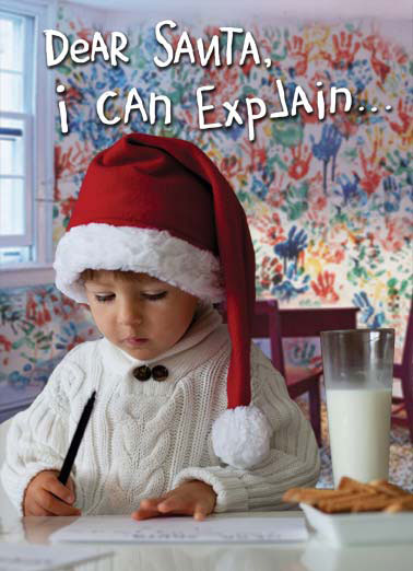 Funny Naughty but Nice Card  Child writes a letter to Santa | child milk cookies santa cap letter write sorry can explain paint naughty , Merry Christmas