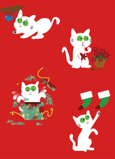 Cat's Favorite Things Funny Christmas Card Cats cat at Christmas.