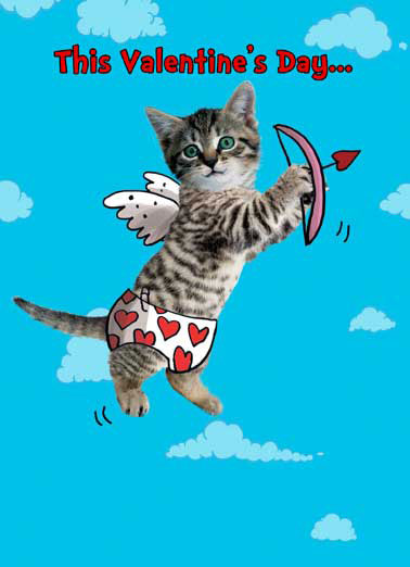 Cat in Clouds Funny Cats Card  This Valentine's Day... Lookout for Mewpid!  Lookout for MEWPID!