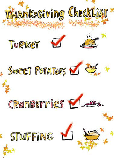 Checklist Funny Thanksgiving Card