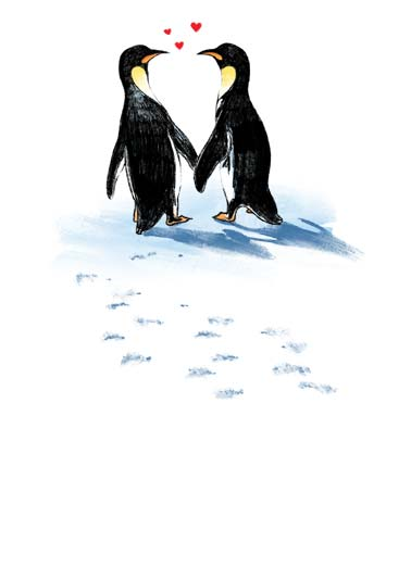Chillin  Funny Animals Card Valentine's Day Two penguins hold hands | penguin arctic snow chillin chilling chill love valentine valentine's day  Valentine- there is nothing I like better than just chillin' with you