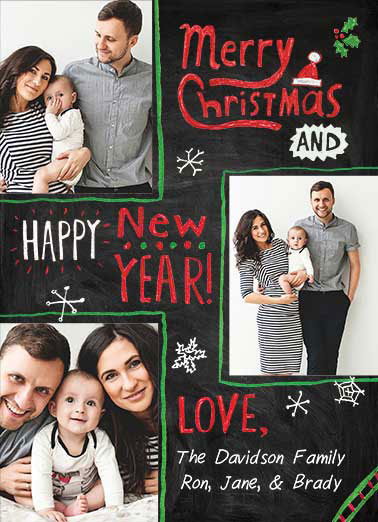 Christmas Chalk Board Funny Christmas Card Add Your Photo Upload Your Photo | New year, christmas, chalkboard, lettering, holiday, hand done, sweet, calligraphy, fonts, decor