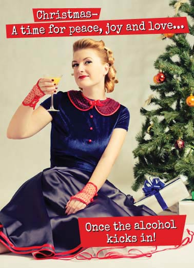 Funny Vintage Card  Vintage photo of a woman drinking alcohol in front of a Christmas tree with presents.  Retro, fashionable, girl, vodka, rum, martini, antique, xmas, sarcasm,