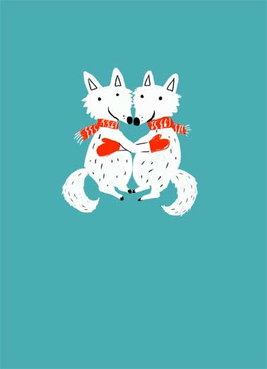 Christmas Foxes Funny Christmas  Hug two foxes hugging. hugging and keeping warm.  Sending you the warmest of hugs this Christmas.