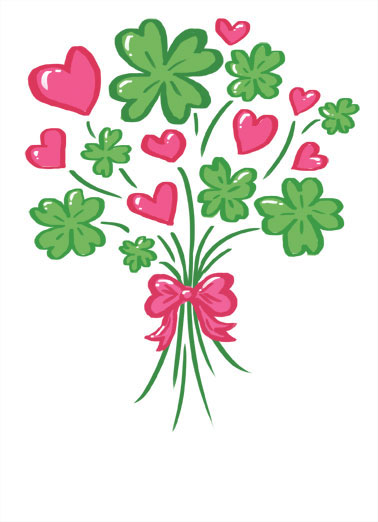 Clover Bouquet Funny Megan Card   Love you on St. Patrick's Day and everyday! | St Patrick's Day Pat's love cute romantic hearts clover shamrock bouquet   Love you on St. Patrick's Day and everyday!