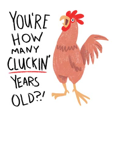 Cluckin' Funny Birthday Card Funny Animals Funny chicken pun birthday card, you're how many cluckin years old on this funny birthday card, say happy birthday with this funny cluckin card,  Hope your Birthday's Cluckin' Happy!