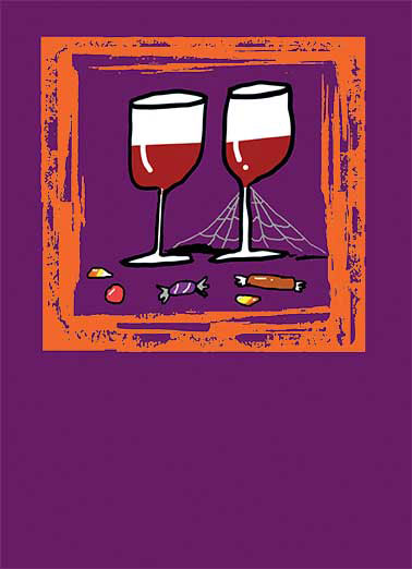Cob Web Wine Funny Drinking Card  It's candy that won't stick to your teeth | wine, joke, drawing, illustration, cute, drinking, humor, fun