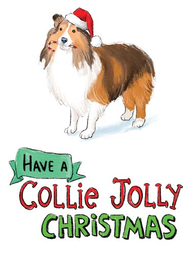 Collie Jolly Funny Christmas Card Sweet A picture of a collie wearing a santa hat and holding a candy cane in it's mouth with the words 'have a collie jolly Christmas'. | Merry Christmas paws pawsitivily candy cane Santa hat dog Collie illustration fur dog jolly present sweet new year ...and a pawsitivily wonderful new year.
