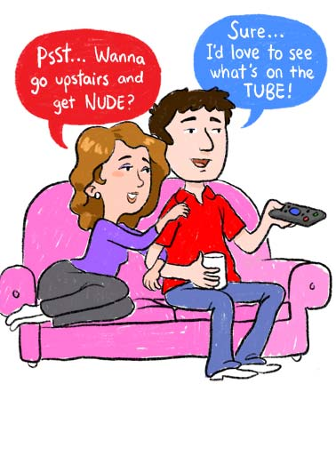 Communication (VAL) Funny  Card  A couple sitting on the couch and they have trouble communicating and understanding each other. | communication illustration love tube nude love lover see couch remote upstairs happy valentine's day key successful relationship  Communication- they key to every successful relationship!