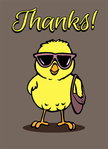 Thank You Bird Funny 5x7 greeting Card  cartoon illustration purse sunglasses chick thanks thank you trendy fashion  You're one Cool Chick!