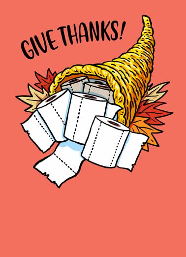 TP Cornucopia Funny Thanksgiving Card  Say Happy Thanksgiving with this funny greeting card featuring a cornucopia full of toilet paper, It's Thanksgiving, just roll with it!