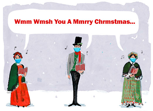 "Covered Carolers Funny Christmas Card Funny Send a wish with this fun ""Masked Carolers"" Christmas card or Ecard to put a smile on someone's face this holiday season."