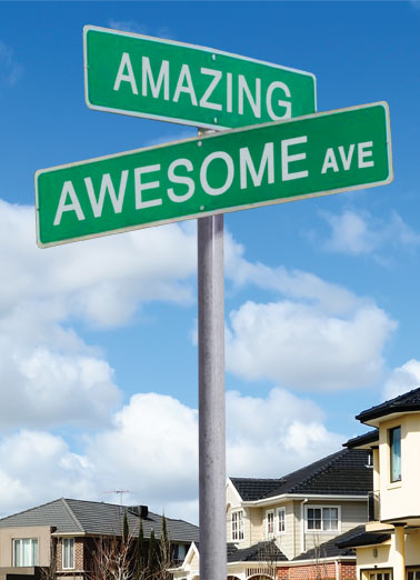 Crossroads Funny Goofy Photo Card  A picture of a street sign that has one sign saying 'amazing' and another saying 'awesome.' | street sign birthday amazing awesome crossroad crossroads corner Another Birthday and you're at a Crossroads.