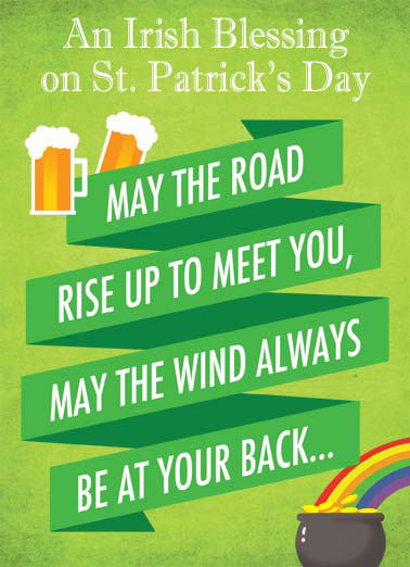 Cut One Funny St. Patrick's Day Card  An Irish blessing on St. Patrick's Day. | Irish blessing saint st. Patrick's Day green beer gold rainbow wind meet rise your back cut one green luck lucky gold drink drinking fart pass gas  Especially if you cut one.