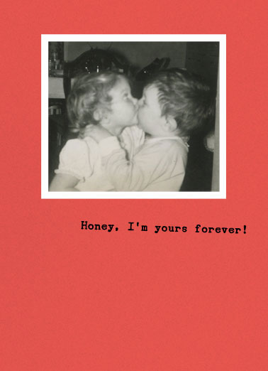 Deal With It (LV) Funny Love  For Any Time A vintage photo of two kids kissing. | honey love vintage retro kiss   Deal With It!