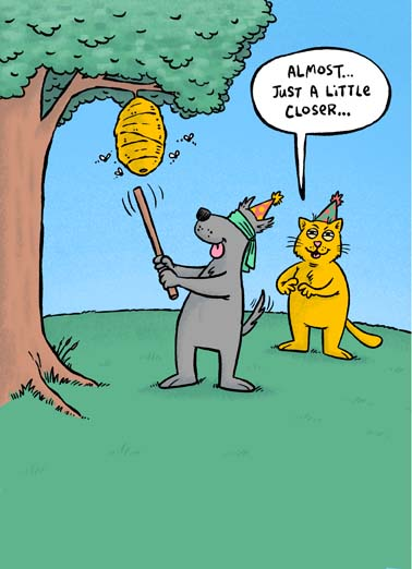 Dog and Cat Pinata Funny Birthday Card Dogs Funny dog and cat cartoon on birthday card, Hope your Birthday is a hit!