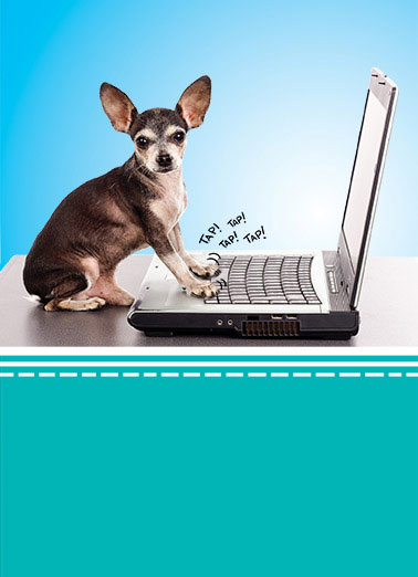 Dog Typing Funny For Kid Card    H@pp% B!rt#d@y!