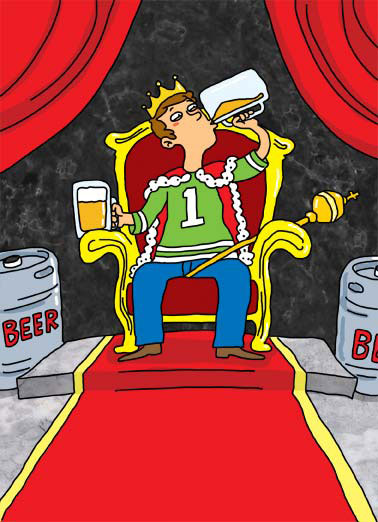 Draft King Funny Wishes  Father's Day A dad on a throne drinking beers while wearing a crown and a sports jersey. | keg beer scepter crown throne jersey dad father father's day  Happy Father's Day to a real Draft King!
